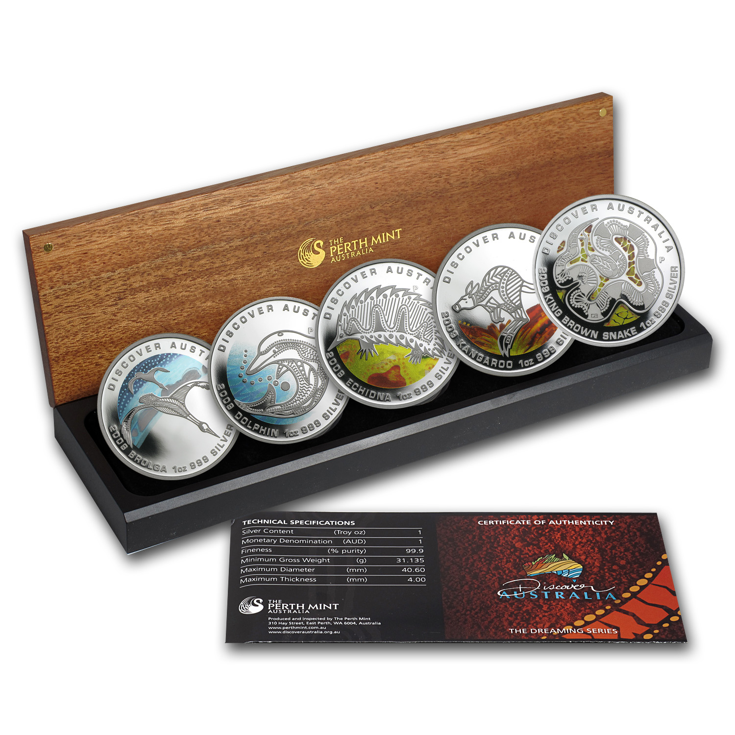 2009 1 oz Proof Silver Discover Australia Dreaming 5-Coin Set